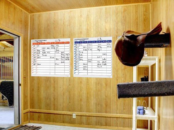 BOXPROTEC - panneau / planning / planning ou plaque d'écurie / planning concours / nom + prénom cavalier / nom cheval / heure / reco / paddock / piste / numéro / personnalisable / gestion des paddocks / gestion des patures / écuries / club / chevaux