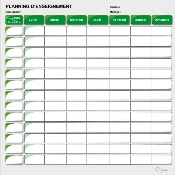 BOXPROTEC - panneau / planning / planning ou plaque d'écurie / planning d'enseignement / jours de la semaine / enseignants / nom + prénom cavalier / nom cheval / heure / reco / paddock / piste / numéro / personnalisable / gestion des paddocks / gestion des pâtures / écuries / club / chevaux