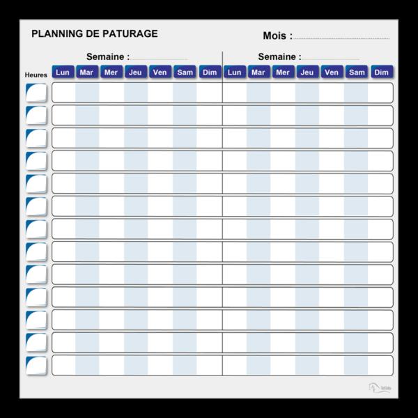 planning de pâturage effaçable bleu