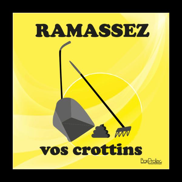 panneau ramasser vos crottins jaune