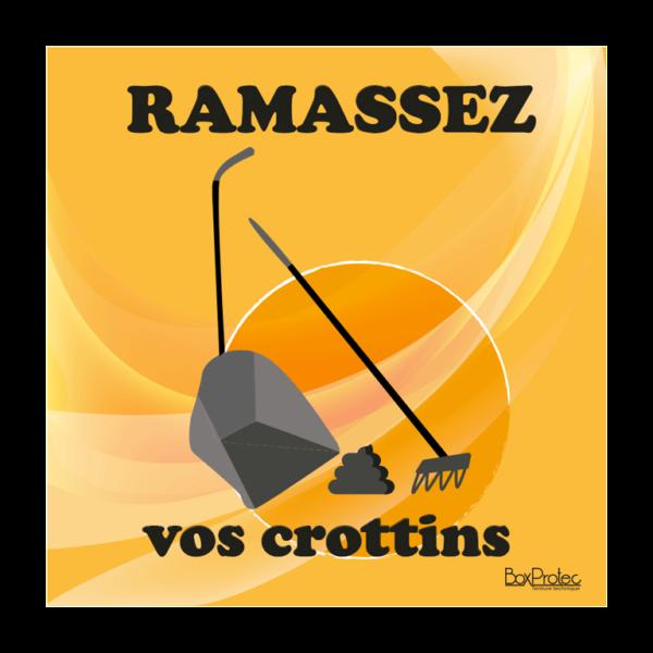 panneau ramasser vos crottins orange