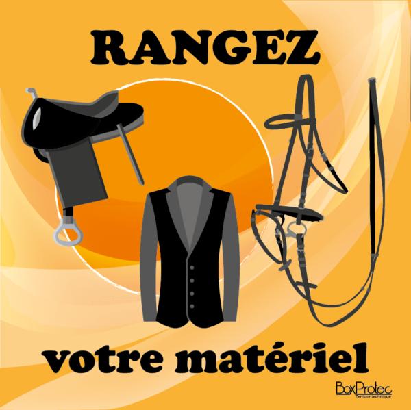 BOXPROTEC - panneau / stickers / autocollant / rangez votre matériel / obligation / équitation / club / écuries / propriétaires / fond orange / panneaux personnalisables