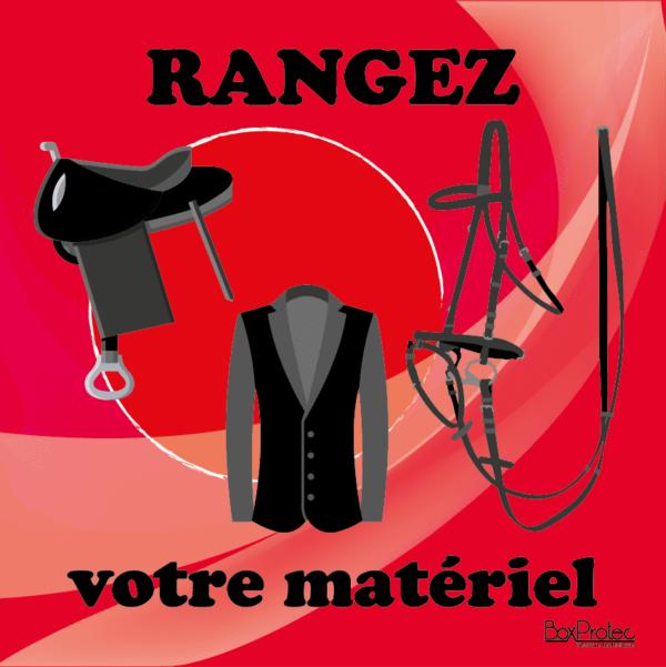 BOXPROTEC - panneau / stickers / autocollant / rangez votre matériel / obligation / équitation / club / écuries / propriétaires / fond rouge / panneaux personnalisables