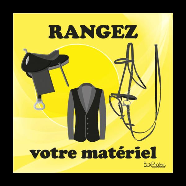 panneau rangez votre matériel d'équitation jaune