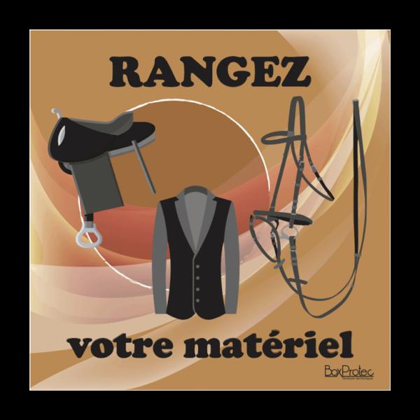 panneau rangez votre matériel d'équitation marron