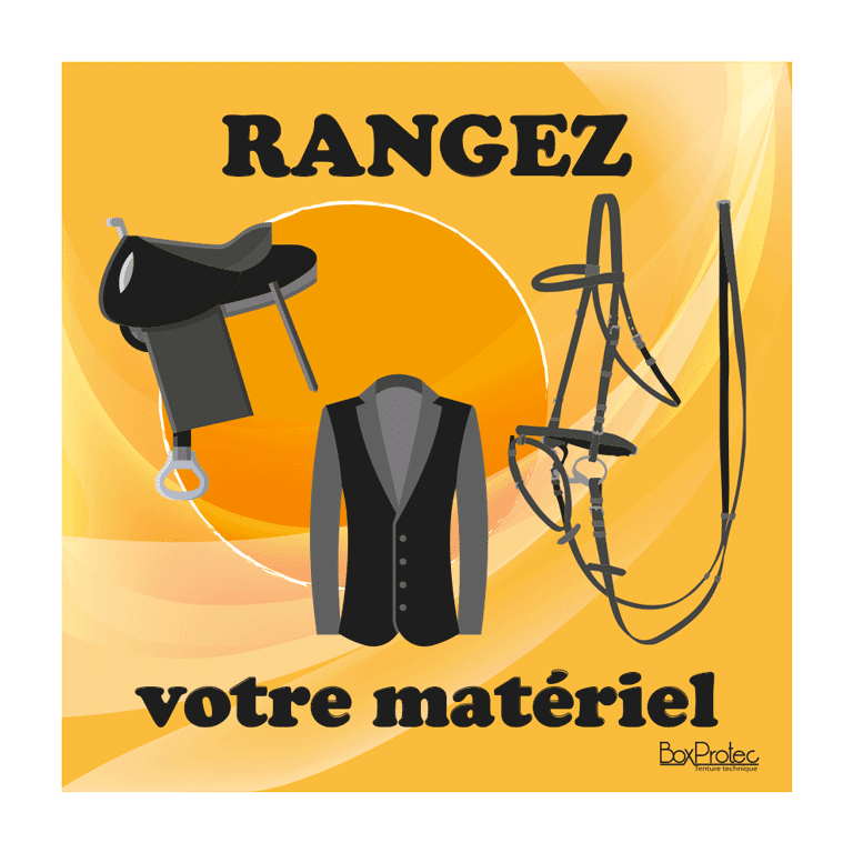 panneau rangez votre matériel d'équitation orange