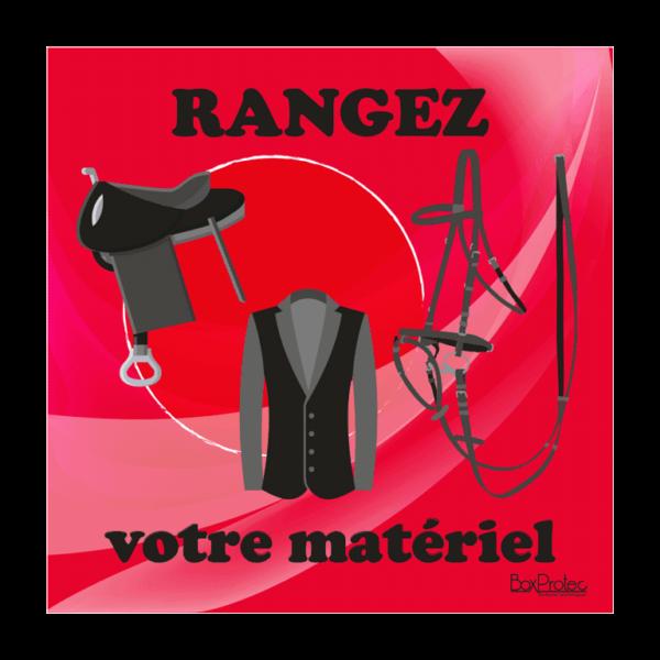 panneau rangez votre matériel d'équitation rouge