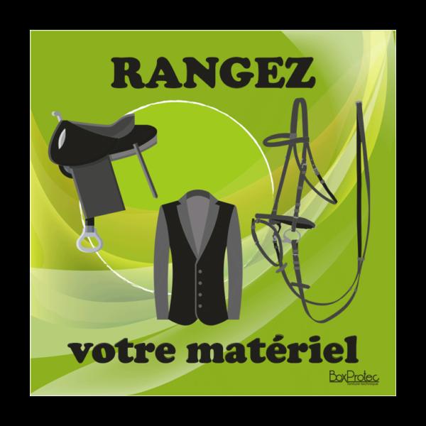 panneau rangez votre matériel d'équitation vert