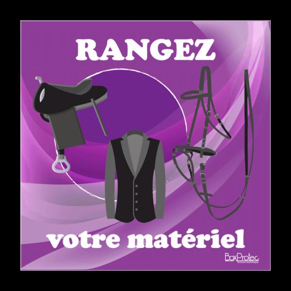 panneau remettre le matériel d'équitation à sa place violet