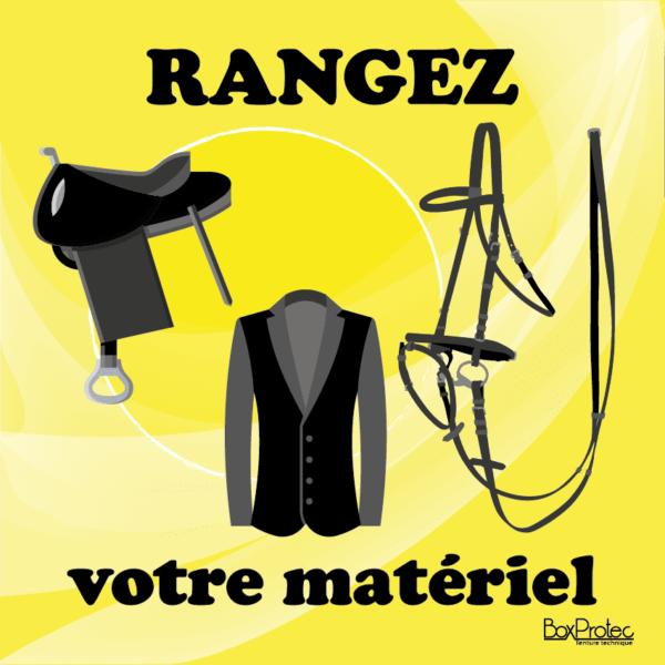 BOXPROTEC - panneau / stickers / autocollant / rangez votre matériel / obligation / équitation / club / écuries / propriétaires / fond jaune / panneaux personnalisables