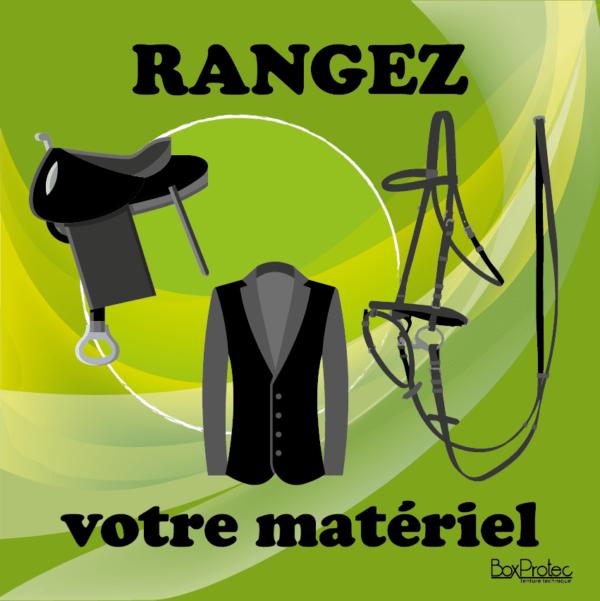 BOXPROTEC - panneau / stickers / autocollant / rangez votre matériel / obligation / équitation / club / écuries / propriétaires / fond vert / panneaux personnalisables