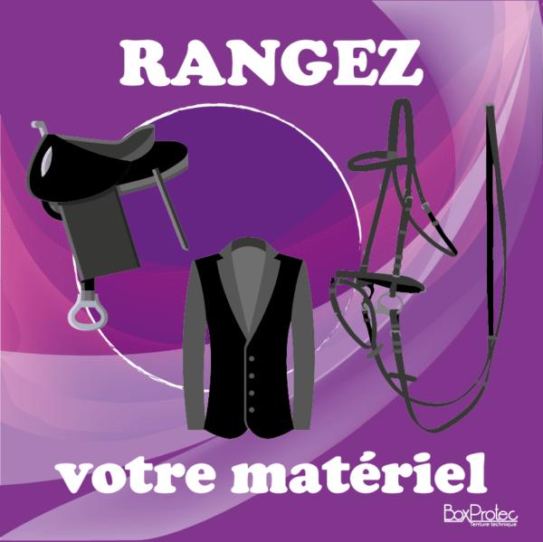 BOXPROTEC - panneau / stickers / autocollant / rangez votre matériel / obligation / équitation / club / écuries / propriétaires / fond violet / panneaux personnalisables