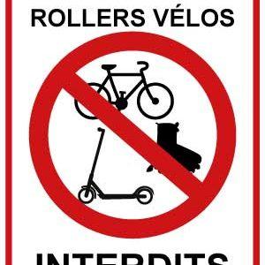BOXPROTEC - trottinettes interdites / vélos interdits / rollers interdits / interdiction/ / fond blanc / panneau / autocollant / stickers / gros texte