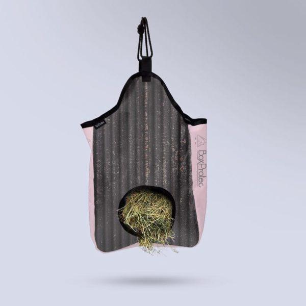 sac à foin à suspendre pour cheval collection zébré noir et rose Boxprotec
