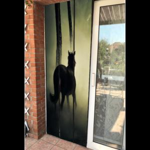 moustiquaire de porte à lamelle motif cheval