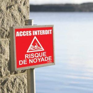 panneau risque de noyade rouge accès interdit