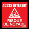 panneau rouge accès interdit / risque de noyade
