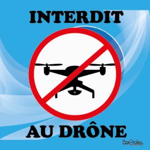 BOXPROTEC - panneau / stickers / autocollant / interdit aux drones / fond bleu