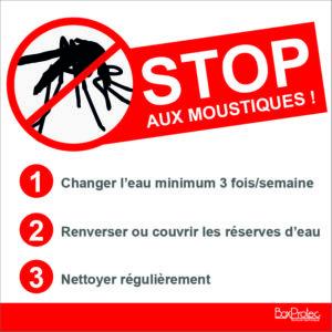 BOXPROTEC - stop aux moustiques / panneau / autocollant / stickers / conseil / gros texte / fond blanc