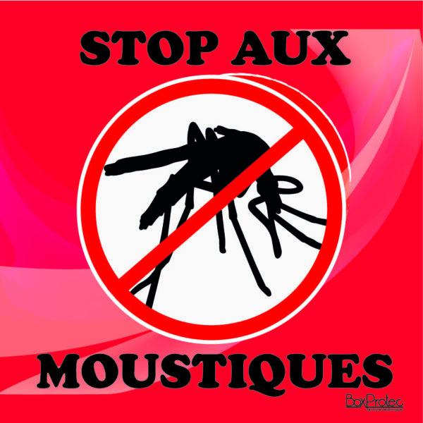 BOXPROTEC - Panneau stop aux moustiques standard / fond rouge / gros texte / autocollant / stickers