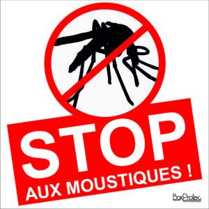 BOXPROTEC - Panneau stop aux moustiques standard / fond blanc / gros texte