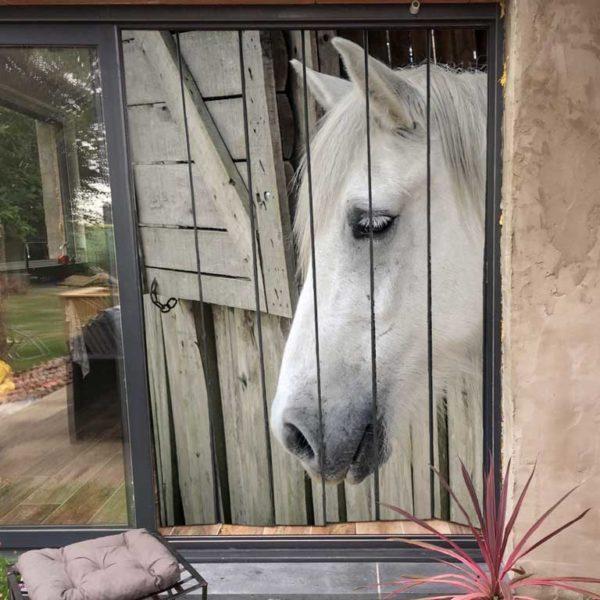 moustiquaire de baie vitrée motif cheval