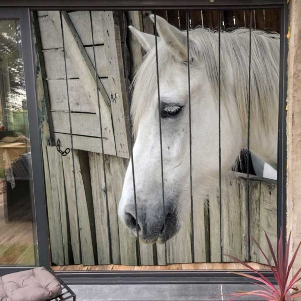 moustiquaire de baie vitrée motif cheval 200 x 230 cm