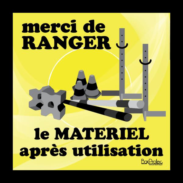 panneau ranger le matériel après utilisation jaune