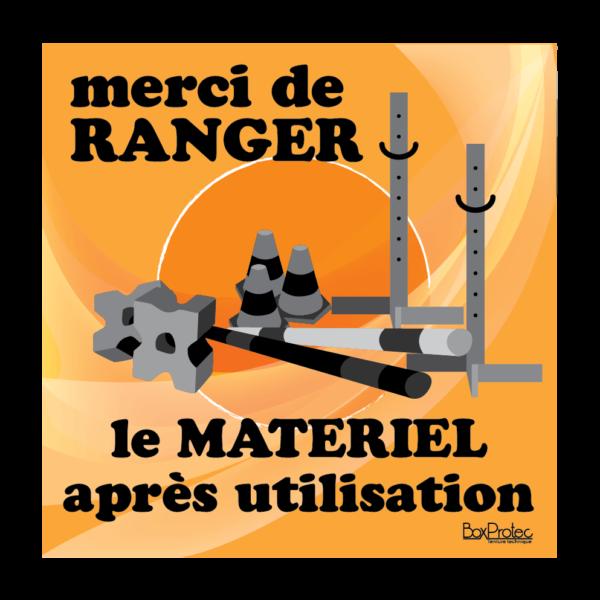 panneau ranger le matériel après utilisation orange