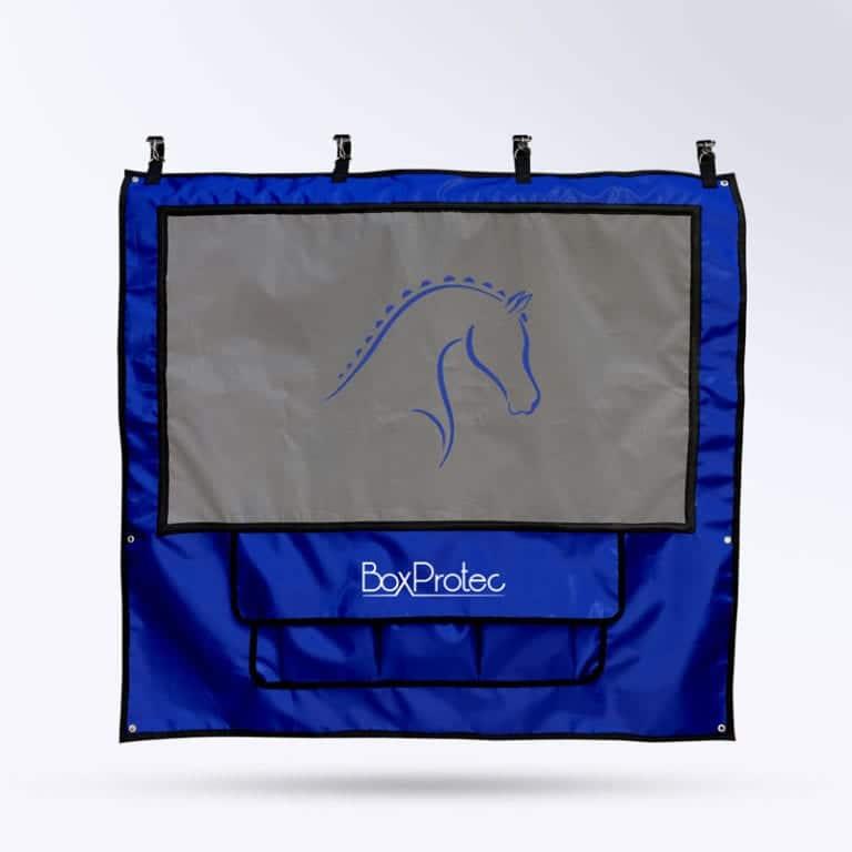 tenture de box pour concours de chevaux Boxprotec bleu et gris
