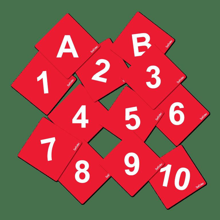 numéro et lettre d'obstacle de cross fond rouge