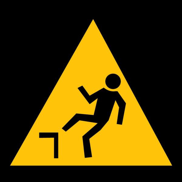 panneau danger de dénivellation format triangle