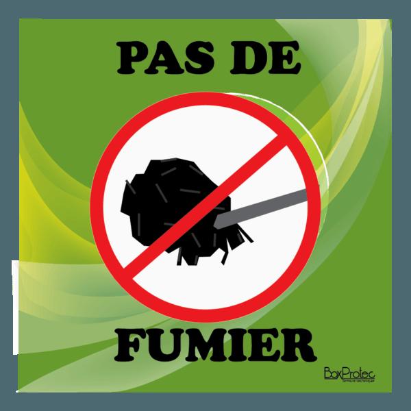 Panneau interdit au fumier vert