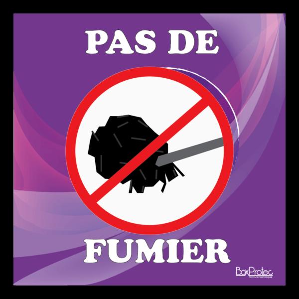 Panneau interdit au fumier violet