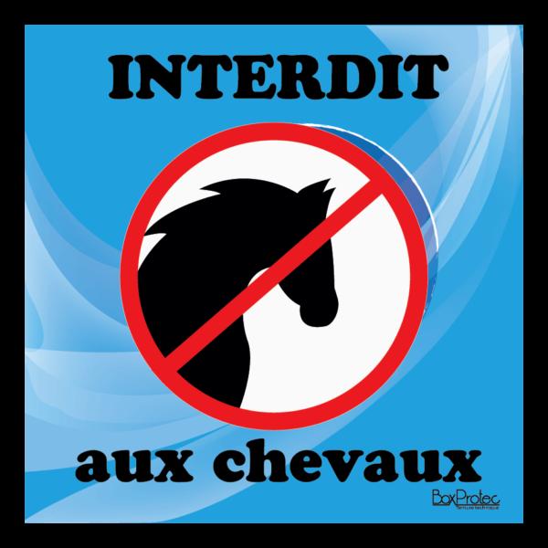 Panneau interdit aux chevaux bleu
