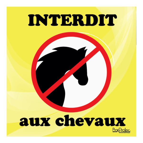 Panneau interdit aux chevaux jaune
