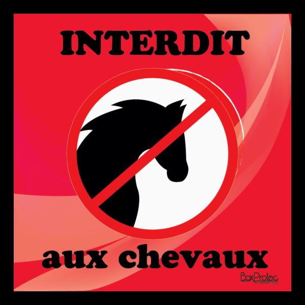 Panneau interdit aux chevaux rouge