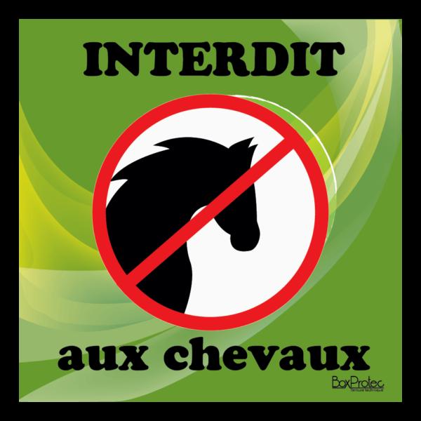 Panneau interdit aux chevaux vert