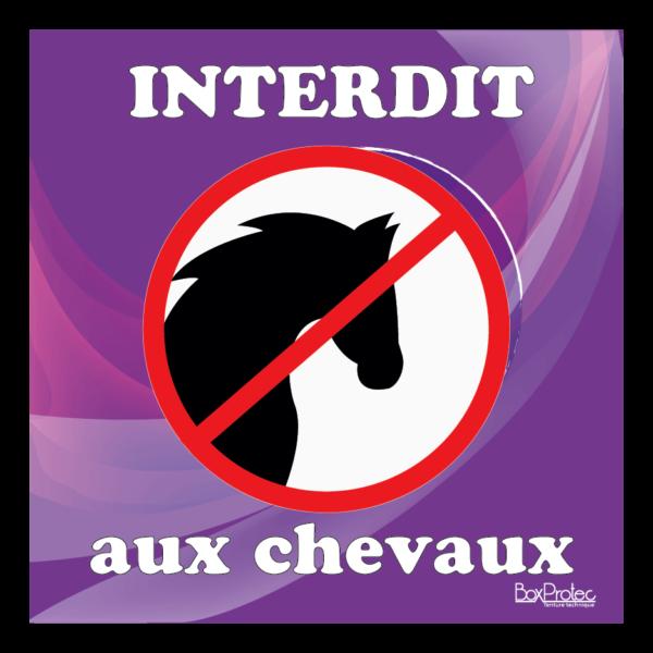 Panneau interdit aux chevaux violet