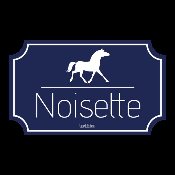 plaque au nom de votre cheval pour box fond bleu