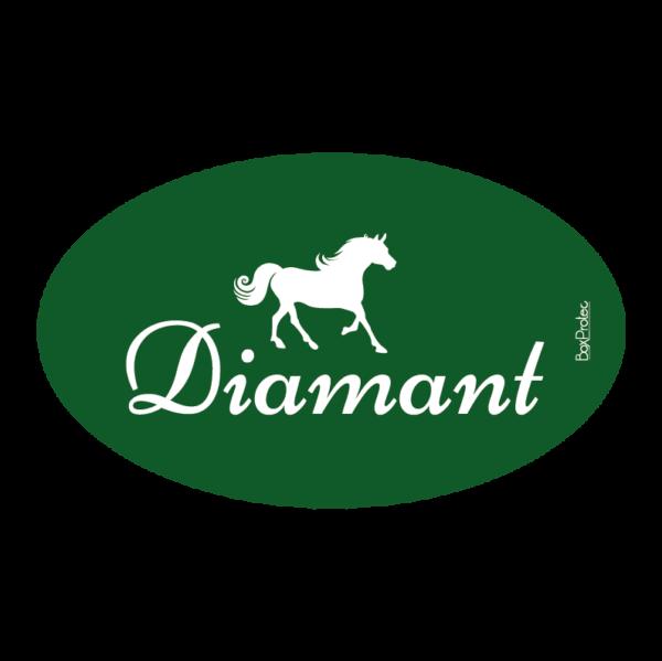 plaque au nom de votre cheval pour box fond vert