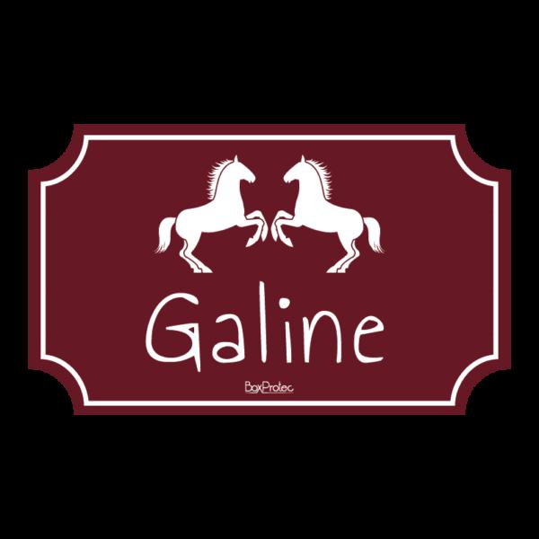plaque de box au nom de votre cheval pour box fond bordeaux