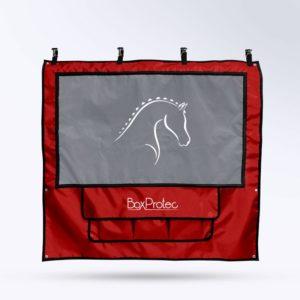 tenture de box rouge Boxprotec toile micro aéré et pochette de rangement