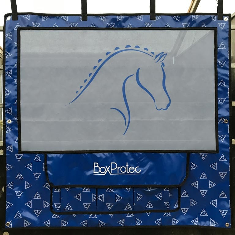 tenture pour chevaux gris et bleu avec pochettes de rangement boxprotec