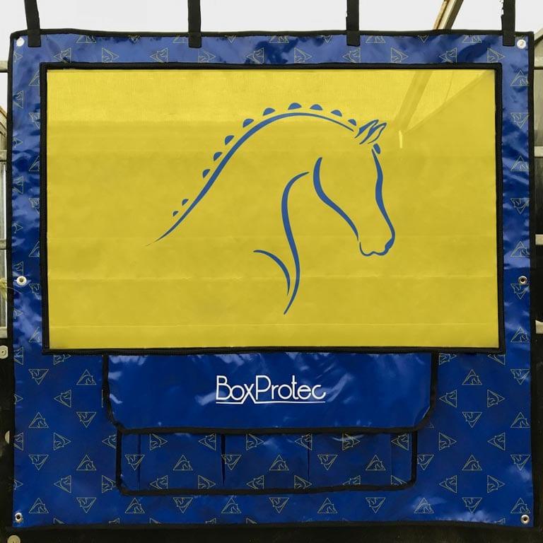 tenture pour cheval bleu et jaune avec rangement boxprotec