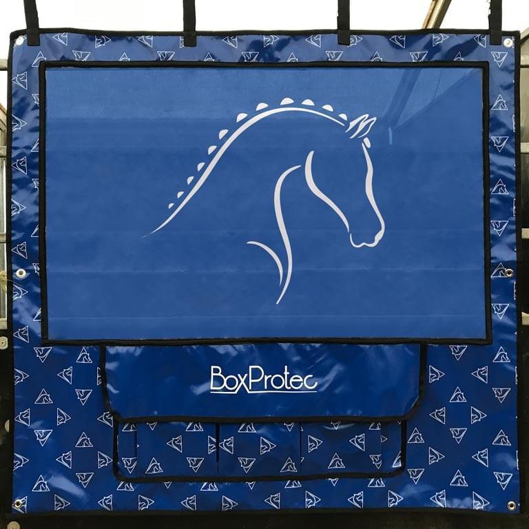 tenture de box avec 3 pochettes de rangement bleu boxprotec