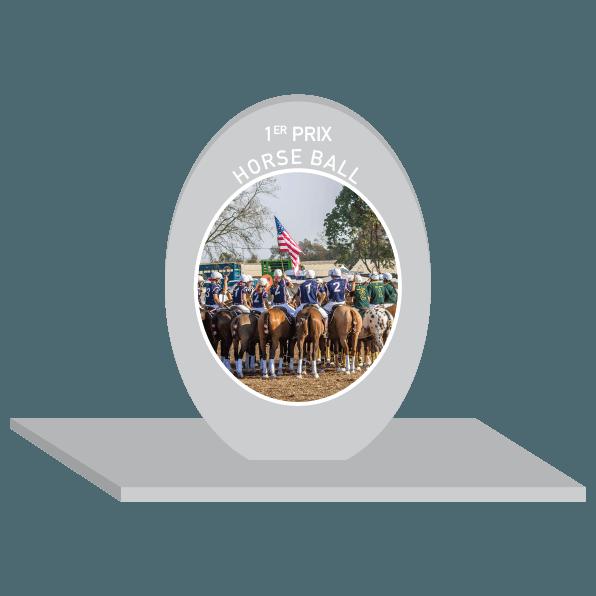 trophée en plexi pour le horse ball