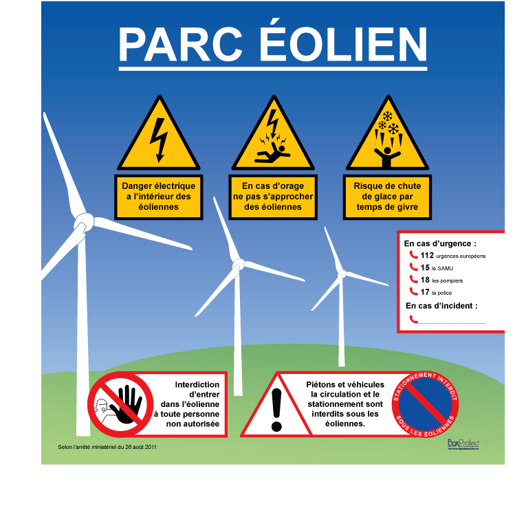 panneau parc éolien danger et interdiction