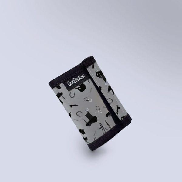 Porte monnaie gris accessoires chevaux