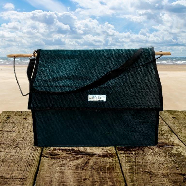 sac à bandes et flanelles vert carbone